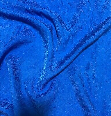 """Hand Dyed PERIWINKLE BLUE Silk JACQUARD Fabric PAISLEY 9/""""x22/"""" remnant"""