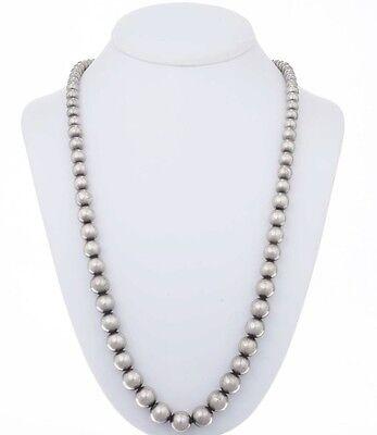 Navajo Sterling Desert Pearl Necklace Graduating Beads 3244