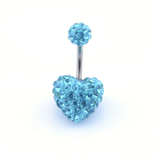 Shamballa Herz Bauch Stange Multi Kristall Bauchnabelpiercing Bauchnabel Leiste
