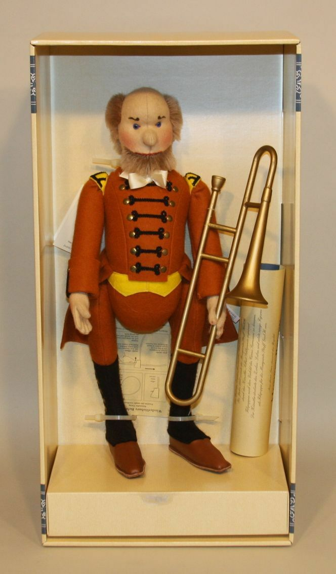 1996 Steiff Replica 1911 Musician Marronee with Trombone 411908 68 1200 in Box