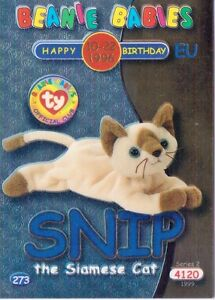 Ty S2 Beanie Card Birthday HISSY THE SNAKE BLUE EUROPE  EUROPEAN VERSION