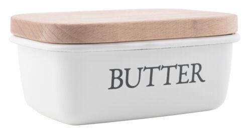 * IB LAURSEN Butterdose Emaile mit Holz Deckel Weiss Shabby Landhaus