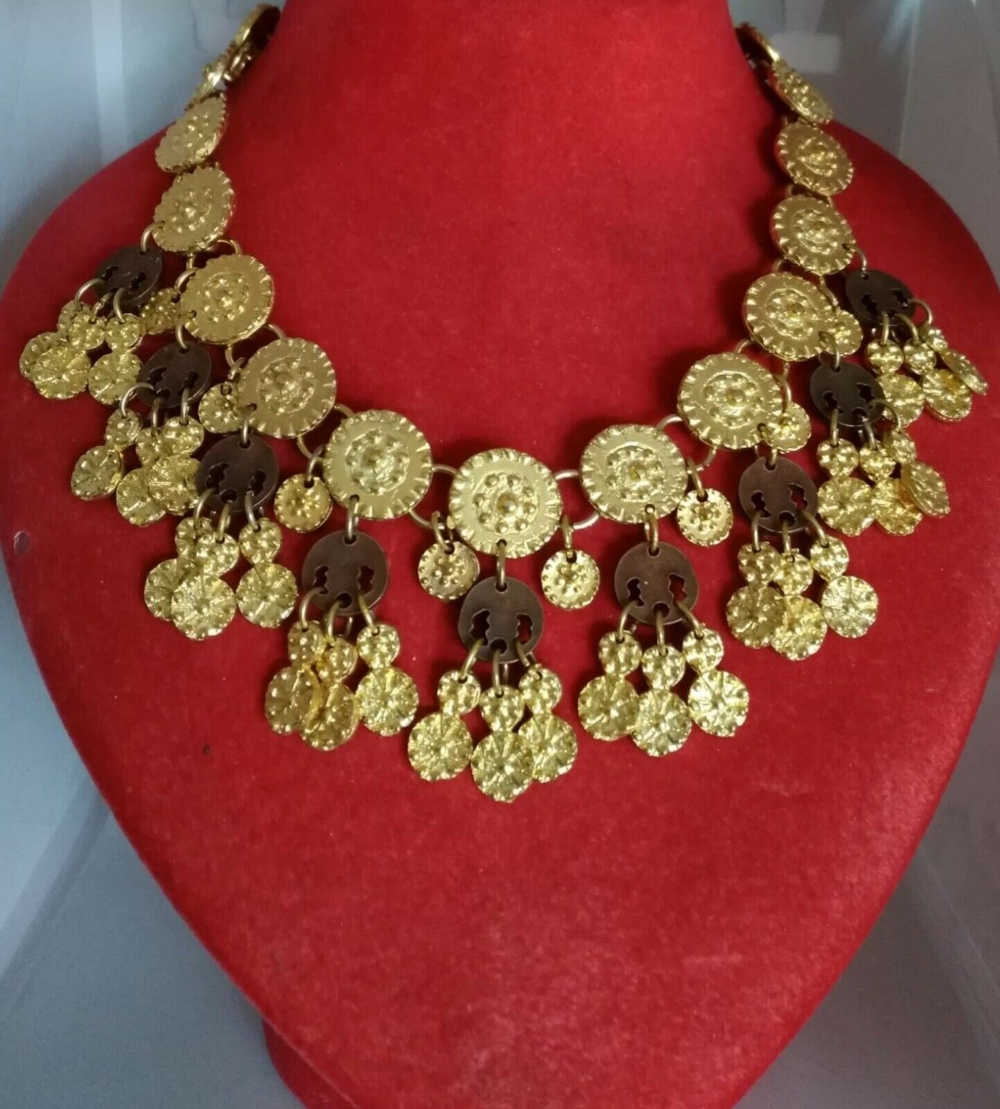Ancient Necklace Vintage Years 70/80 Metal Color Gold and Brown Woman Girl-show original title