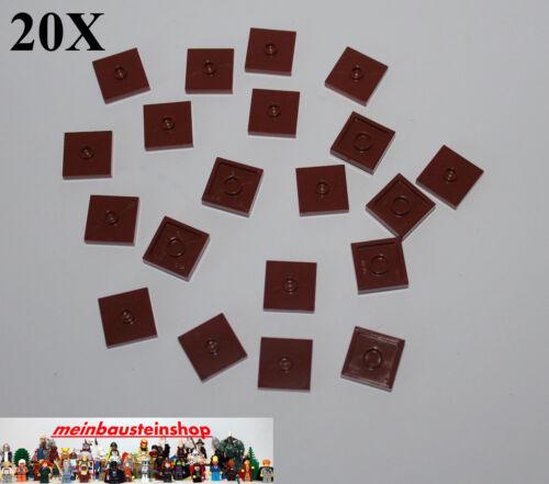 20x LEGO ® 87580 Carreau Tile Plaque Plate 2x2 1 d/'brun rouge Reddish Brown NEUF