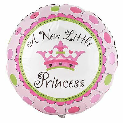 "2 Pcs - A New Little Princess Crown 18"" Polka Dot Baby Girl Balloon Shower Party"