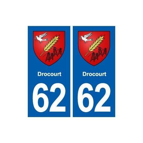 62 Drocourt blason autocollant plaque stickers ville arrondis