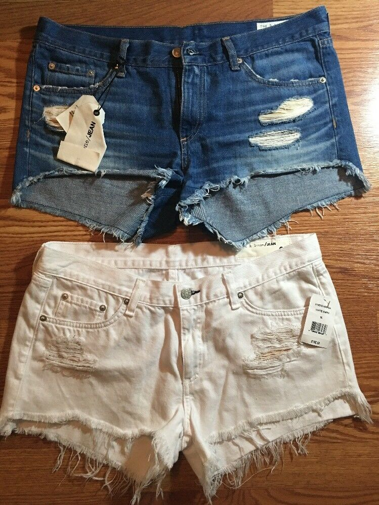 Sold Out  BNWT Lot Of 2 RAG & BONE Cut Out SHORTS DISTRESSED - W 30