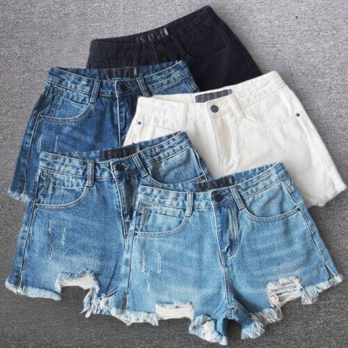 Donna Vintage Strappato Da Donna Vita Alta SUPERMORBIDI Pantaloncini Di Jeans Hot Pants Jeans