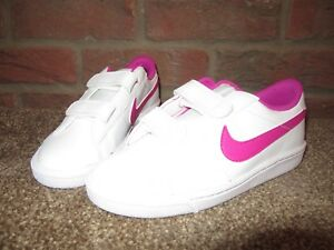 38c71c2e30a24 NEW UK 1 Girls NIKE Trainers White Bright Pink Hook & Loop Fastening ...