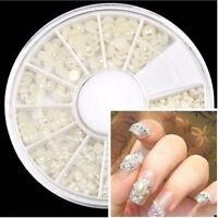3D Fashion White Nail Art Tips Pearl Acrylic Gem Glitter Manicure DIY Decor New