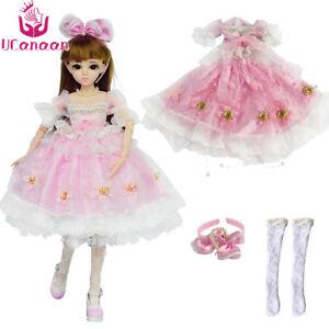Fashion-Pink-Princess-Suit-Clothes-For-1-3-BJD-Doll-Girl-Maxi-Dress-Set-Handmade