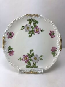 Antique-T-amp-V-France-Limoges-Tressemanes-amp-Vogt-Hand-Painted-Plate-Floral-Gold-Rim
