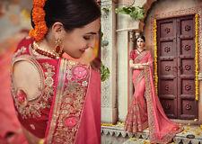 CHIFFON & NET DESIGNER WEDDING SAREE PAKISTANI INDIAN BRIDAL BOLLYWOOD SARI 093