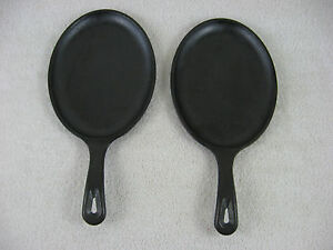 Lodge Lot Of 2 Cast Iron Oval 9x7 Frying Pan Os Ebay