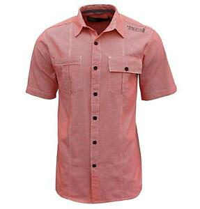 Henleys-Hommes-Gingham-Check-Casual-Long-Plus-Taille-Chemise-haut-rouge-tomate