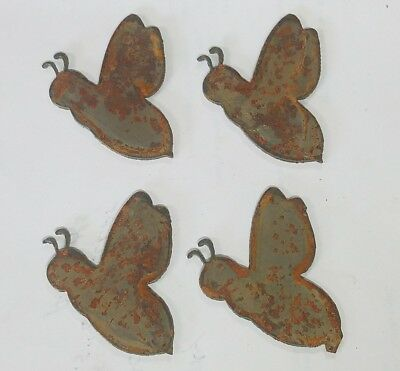 """Lot of 4 Donkey Mule Shapes 3/"""" Rusty Metal Vintage Ornament Craft Sign Made USA"""