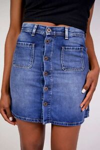389aded52a09 Details zu PEPE Jeans Jeansrock TATE L45 A-Form offene Knopfleiste Neu  Größe XS/S/M