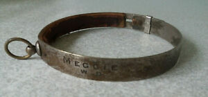 ANTIQUE-SILVER-PLATED-METAL-VICTORIAN-DOG-COLLAR-DOGS-NAME-MEGGIE-W-D