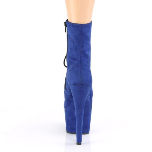 "Details about  /PLEASER ADORE-1020FS 7/"" Heel Platform Royal Blue Faux Suede Lace Up Ankle Boots"