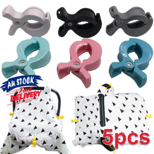 5Pcs Blanket Clip UK To Hook Toy Pram Pegs Car Seat Cover Clips Stroller Peg