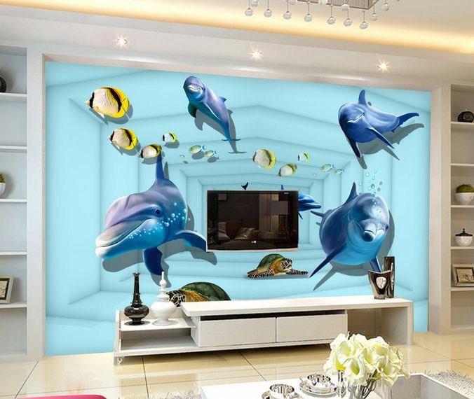 3D I delfini, pesci 33 Parete Murale Carta da parati immagine sfondo muro stampa
