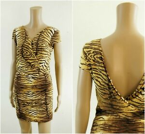 MANGO-Animal-Print-Wrap-Front-Ruched-Low-Back-Party-Occasion-Dress