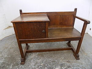 Pleasing Details About Vintage 1930S Wooden Oak Hall Seat Hall Seat Cupboard Oak Seat Table Bench Onthecornerstone Fun Painted Chair Ideas Images Onthecornerstoneorg
