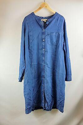 All Sizes New J Jill Blue Ridge Tencel Indigo Long Tab Sleeve Denim Dress