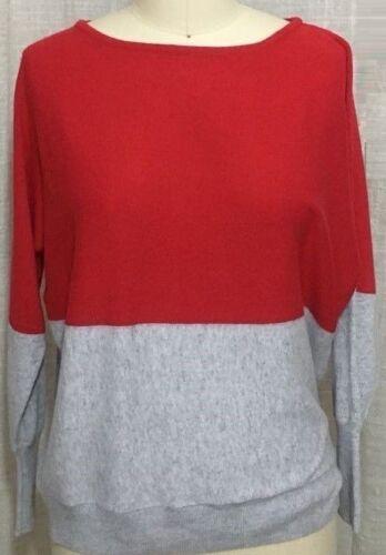 CHIC Designer Comme neuf Velvet automne couleur bloc rouge gris chauve-souris Pull Taille XL
