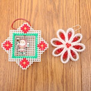 Plastic Canvas Christmas Ornaments.Details About 2 Handmade Plastic Canvas Christmas Ornaments Flower And Santa