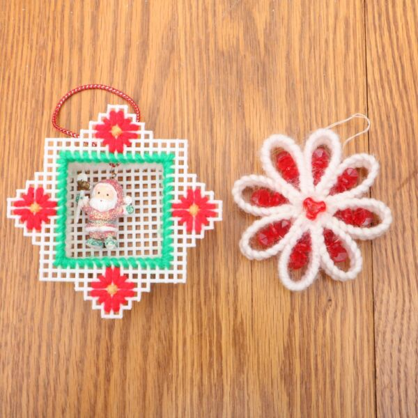 2 handmade plastic canvas christmas ornaments flower and santa - Plastic Canvas Christmas Ornaments