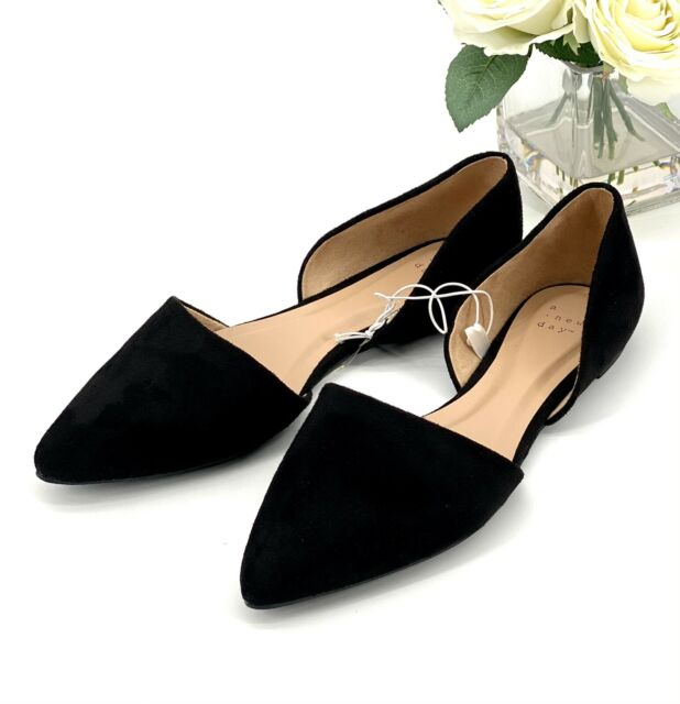 Womens' Rebecca Pointed Toe Ballet Flat Sz 9 Shoe Black Faux Suede -A New Day