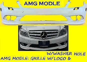 New Front Bumper Cover For Mercedes-Benz C Class WITHOUT LAMP WASHER HOLE