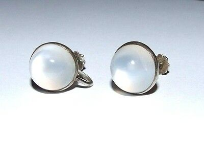 FABULOUS PAIR OF LARGE SHIMMERING MOONSTONE ANTIQUE EARRINGS. SCREW FASTENINGS.