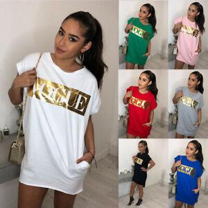 De Damen Kurzarm Letter Longshirt Top Shirt Kleid Sommer Casual