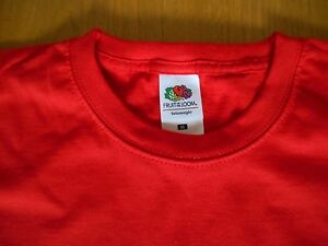 4-x-Fruit-of-the-Loom-Value-Weight-T-Shirts-Rot-Medium-ideal-fuer-Maenner-oder-Frauen