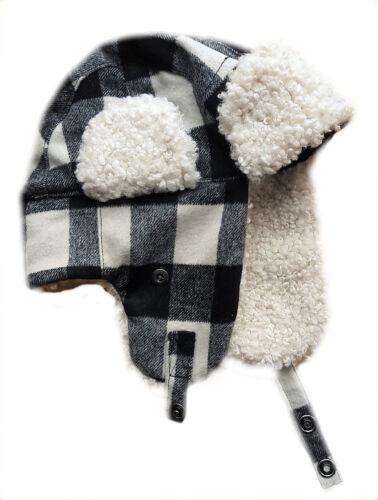 MENS GAP Wool Blend IVORY BLACK Faux Fur Shearling Aviator Hat S//M 57cm £22.95
