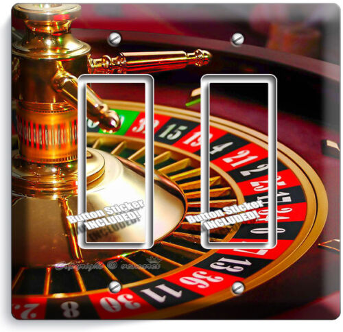 CASINO ROULETTE TABLE WHEEL DOUBLE ROCKER LIGHT SWITCH WALL COVER MAN CAVE DECOR