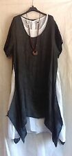Plus LADIES ITALIAN LAGENLOOK 2 Piece Long Plain Cotton Linen Tunic Dress 52'