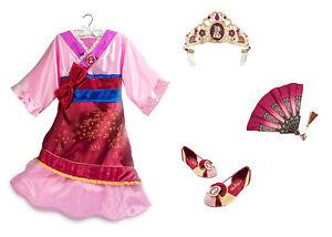 Image is loading NEW-Disney-Store-Mulan-Costume-Dress-Set-w-  sc 1 st  eBay & NEW Disney Store Mulan Costume Dress Set w/ Shoes Tiara and Fan ...