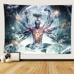 Indian Buddha Statue Tapestry Wall Hanging Chakra Blanket Yoga Carpet Art Decor