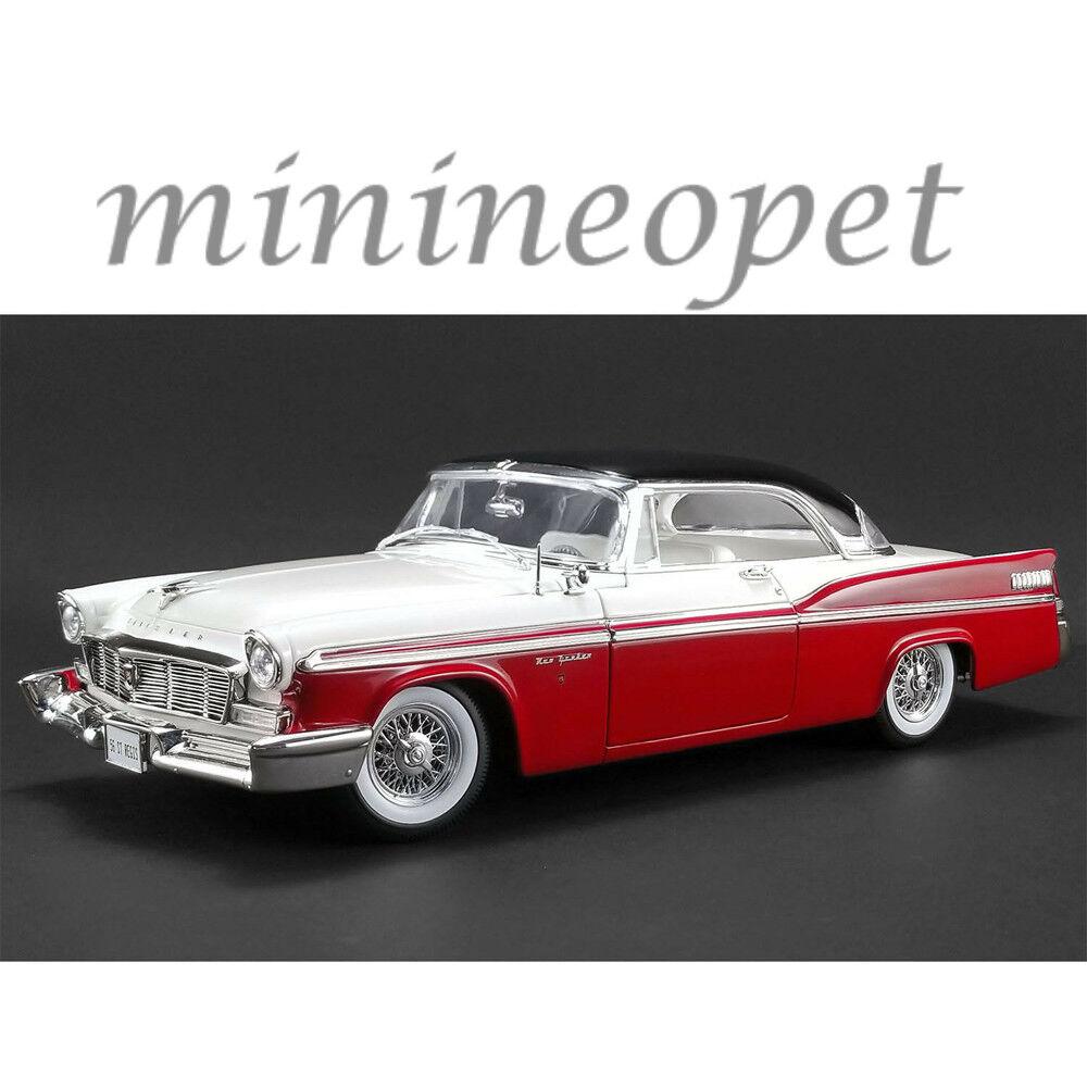 Acme a1809001 1956 chrysler new yorker st. regis 1   18 ein diecast modell auto rot.