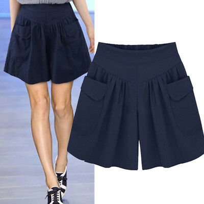 Womens Casual Loose Shorts Summer Beach Wide Leg Hot Pants Trousers Plus Size XL