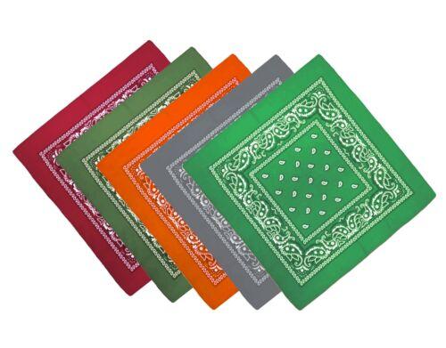 Weinrot,Grün,Grau,Orange,Olive Bandana Paisley Kopftuch Halstuch 5er Set