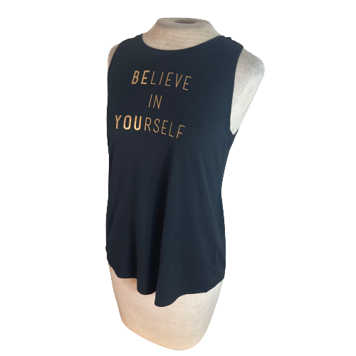 Old Navy Active Believe in Yourself Tank Top Black S Small