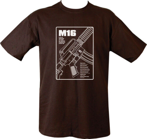 MILITARY ARMY T SHIRT M16 MACHINE GUN BRITISH US 100/% COTTON IN FRONT PARA ARMY