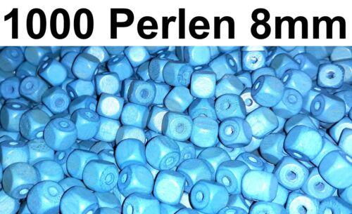 1.000 HOLZPERLEN WÜRFEL PERLEN HOLZ HOLZWÜRFEL blau DIY Beads Kette Armband 8mm