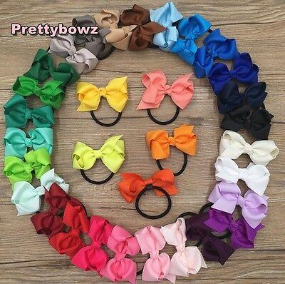 4.3 Inch Grosgrain Ribbon Bow Hair Elastic Hair Bobble Ponytail Girls//Ladies