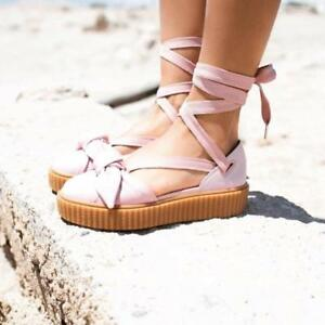 Details about Fenty Puma By Rihanna Womens Bow Creeper Sandals Shoes 365794 01 Pink Oatmeal