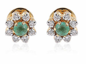 Classy-0-79-Cts-Natural-Diamonds-Emerald-Stud-Earrings-In-Solid-18K-Yellow-Gold